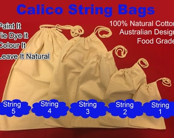 "Calico Bags Drawstring Calico Bags  Calico  Pudding Bag Calico Ham Bag Calico Shoe Bag ""Customisation available"""