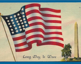 Vintage Linen Postcard - Beautiful Star Spangled Banner and Washington Monument   Long May it Wave  (2513)