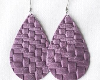 Lavendar Basketweave Leather Earrings