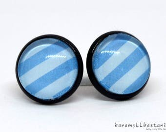 Cute Earrings with Blau Stripes