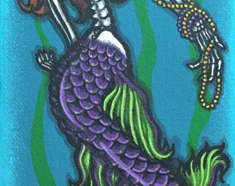 """4x12"""" Day of the Dead giclee print, """"Sirena 2"""""""