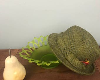 Vintage Berg Wool Green Hat Fedora Sz 6 7/8 Feather from Fifth Ave NY