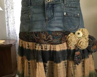 Jean Skirt, tie dye, refashioned skirt, refashioned Jeans, recycled jeans, tie dye skirt