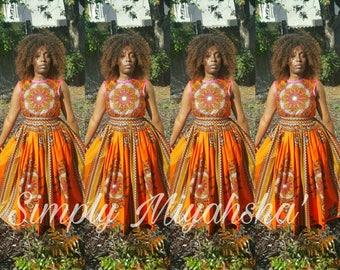 Circle Dashiki print Skirt