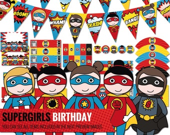 Supergirl Birthday Decorations Package. Printable Comic Book Kids Party Decor. Superhero Girls Party. Digital Download