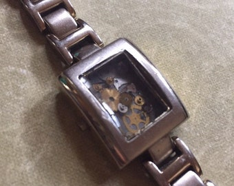 Repurposed Steampunk Gears In Resin Watch Bracelet Square Unusual Upcycle Watch Parts Industrial