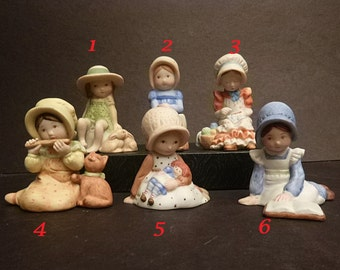 Instant Collection,1981 Holly Hobbie, hand painted,  fine porcelain, child figurines, Children with pets, books,