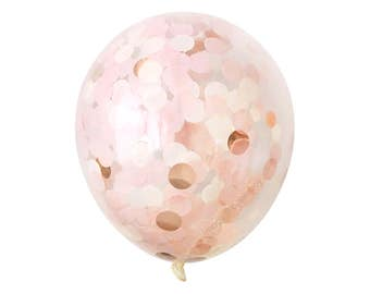 "Rose Gold Confetti Balloon with Blush Pink - Choose 12, 16, 18, 36 inch - Large & Small - Ivory 1"" Circle Filled - Tissue Paper Decor"