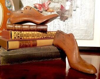 Pair Antique Wooden Women's Shoe Lasts