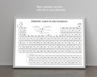 New 2016 Updated Periodic Table of Elements Large Poster on paper (up to A0 or 2.8x3.9 feet) or rolled canvas for educational decor or gift