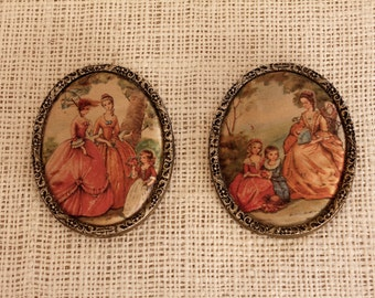Beautifully Brass  framed, Vintage Romantic, Pictures with Baroque, Victorian scene