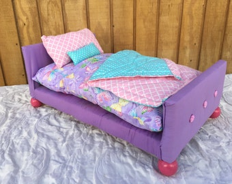 """Upholstered Doll Bed with Bedding Set for American Girl Doll or any 18"""" inch doll"""