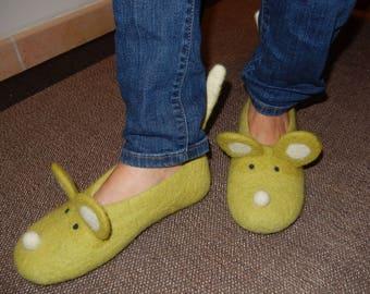 Felted Wool Mice Slippers, made in SCOTLAND, Edinburgh