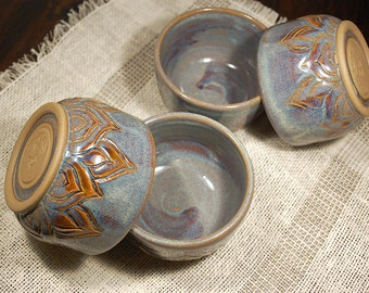 Ceramic prep bowl set of 4, small bowls, yogurt cups, breakfast pottery, ice cream bowls, carved rustic pottery