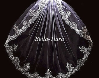 free shipping wedding veil beaded wedding veil beaded veil ivory wedding veil