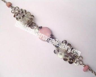 Round Pink Rose Quartz Alpaca Silver Curls Bracelet Peruvian Jewelry - Handmade in Peru