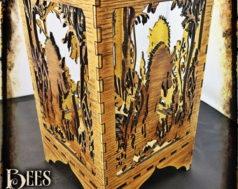 Red riding hood and big bad wolf - Laser Cut Oak Lamp - Steampunk