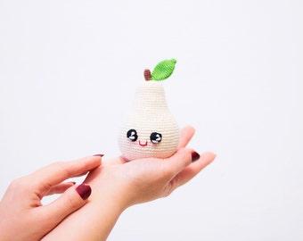 Beige Crochet Pear baby toy , Kawai Plush eco-friendly play food toy, baby shower gift, amigurumi fruit kitchen decor