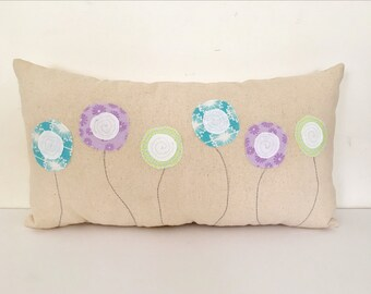 Spring pillow, flower pillow, Poppy pillow