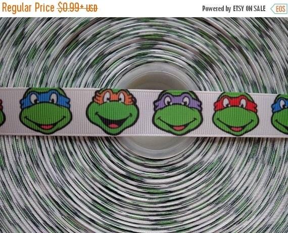 "SUPER SALE TMNT Ninja Turtles Inspired 7/8"" 22mm Grosgrain Hair Bow Craft Ribbon 783171"