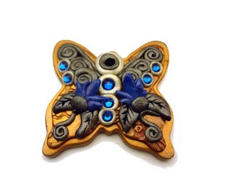 Blue and Copper Polymer Clay Butterfly