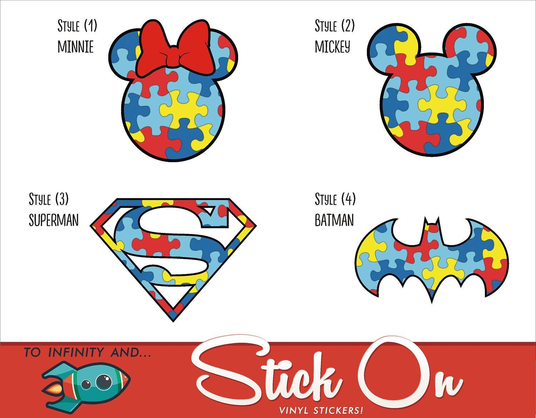 Autism Awareness Puzzle Piece Decal Stickers Minnie Mickey