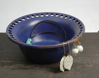 Pottery earring organizer, pottery earring holder, jewelry dish, ceramic earring bowl, cobalt blue
