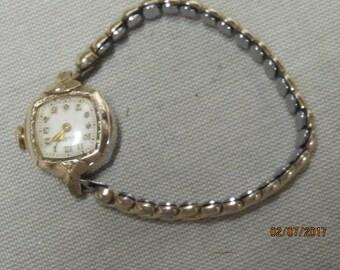Vintage Ladies Bulova Swiss Movement Speidel Stretch Band 10k Gold Face Watch ~ Working~