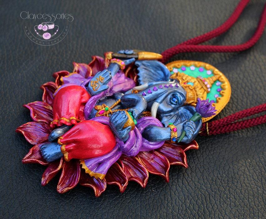 Ganesha necklace / Elephant necklace / Hindu necklace / OM necklace / Polymer clay jewelry