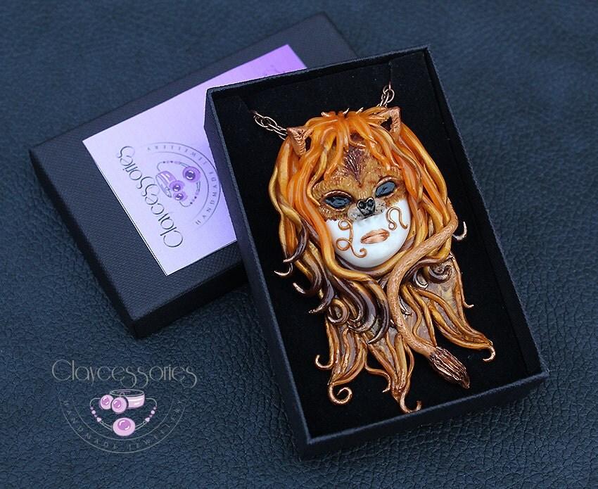 Leo pendant / Leo  necklace / Zodiac pendant / Leo  gift / Leo  zodiac / Horoscope pendant / Leo jewelry / Polymer clay pendant