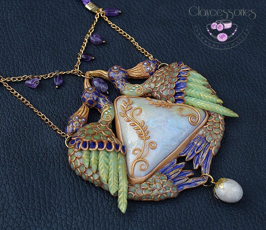 Peacock necklace / Art Nouveau necklace / Peacock jewelry / Peacock pendant / Bird necklace / Amethyst necklace / Polymer clay necklace