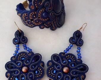 soutache darkly blue bracelet lazurite Soutache bracelet Soutache earrings of a chandelier