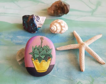 Cactus painted rock - hand painted stone - Cactus painting little gift for cacti lovers - pebble art with Aloe Cosmo plant