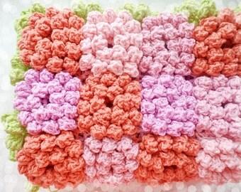 Crochet Flower Blanket Pattern Crochet Flower Afghan Baby Blanket Rose Blanket Colourful Crochet Blanket Knit Blanket Crochet Bed Cover