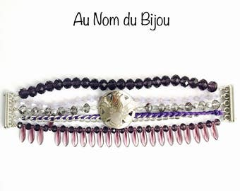 multi-stranded lotus flower Cuff Bracelet
