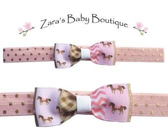Horse Headband * Bow Headband * Pink Headband * Girls Headband * Baby Headband * Beige Headband * Polka Dot Headband * Zara's Baby Boutique