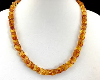 Amber necklace/ Unique amber necklace/ Cognac amber necklace/ Amber necklace in handmade