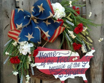 Patriotic 4th of July Red White & Blue Home of the Free Floral Wreath