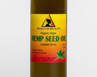 4 oz HEMP SEED OIL Unrefined Organic Carrier Cold Pressed Virgin Raw Pure
