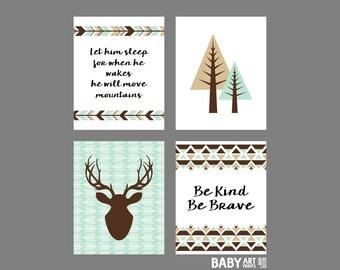 Mint, Tan, Brown, Black Baby Boy Woodland Nursery canvas wall art, Deer, Arrow, Tree, let him sleep, Set of 4 8x10. ( 810001N )