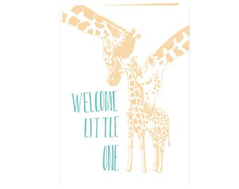 Heartwarming loving babyshower card - Welcome little one -Cute Giraffe family - new baby - happy family - unique babyshower card - eco