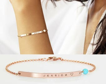 Mothers bracelet Custom Name Bracelet Gold bar bracelet Kids names Personalize Kids Initial bracelet Nameplate Monogram Mothers day gift