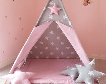 Gray-pink Tipi with stars (120x120cm, star with name)