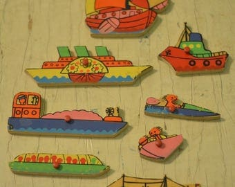 Lot of 8 Wooden Puzzle Pieces BOATS Nautical Sailing Wooden Crafts Simplex