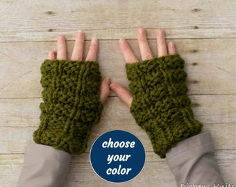 13 Colors - Soft Wool Chunky Knit Fingerless Gloves Hand Warmers Texting Gloves