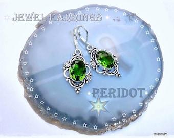Peridot Green Gemstone Earrings, 925 Sterling Silver, Genuine Jewelry, Jewels Earrings, Ladies Earrings, Renaissance