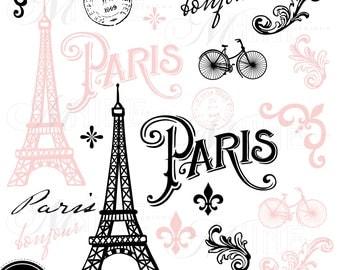 PINK PARIS Clip Art / Paris Theme Clipart Download / Parisian Clip Art Vector Paris Clip Art Eiffel Tower Clipart