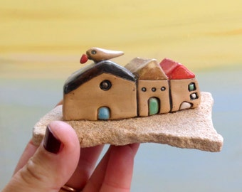 Little houses, Ceramic houses, beach art, Sculpture, Miniatures, Rustic home decor, Love gift, New home, Housewarming gift, Home sweet home
