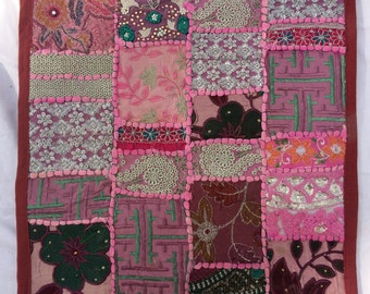 """Handmade patchwork and embroidery cushion cover, 16""""x16"""", from India"""