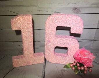 Sweet Sixteen Birthday Decor-Glitter Numbers-Sweet 16 Birthday-Hot Pink Glitter Numbers-Chose any color-Chose any 2 numbers-Birthday Decor
